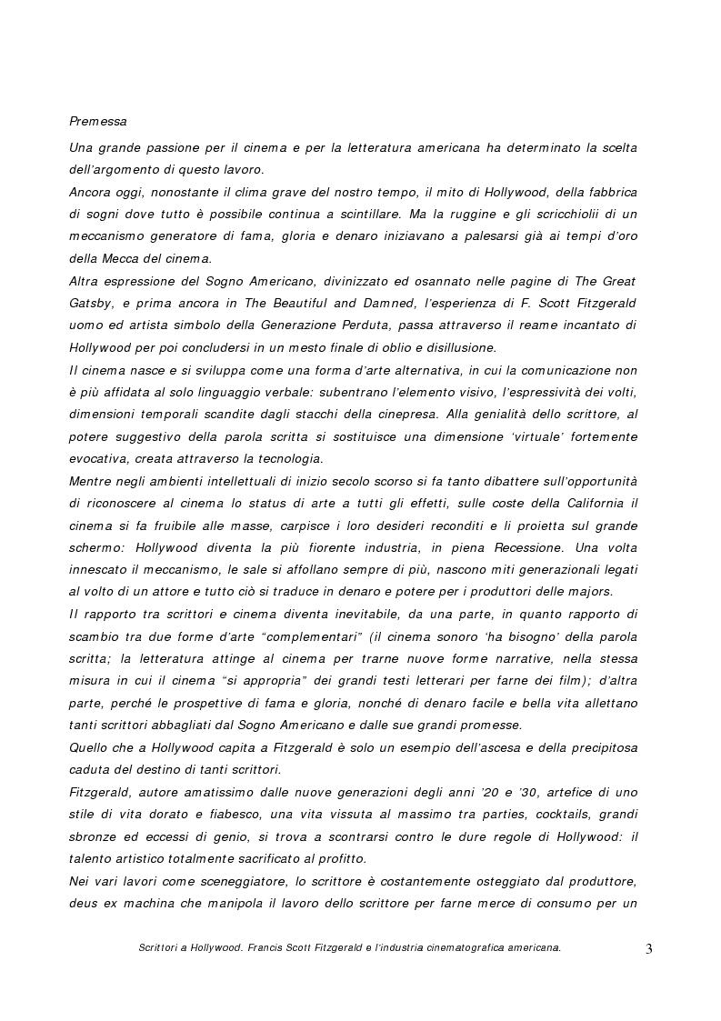 Anteprima della tesi: Scrittori a Hollywood. Francis Scott Fitzgerald e l'industria cinematografica americana, Pagina 1