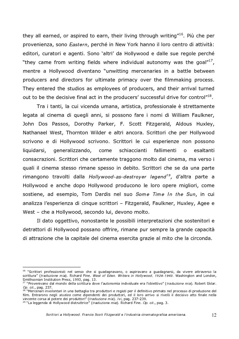 Anteprima della tesi: Scrittori a Hollywood. Francis Scott Fitzgerald e l'industria cinematografica americana, Pagina 10