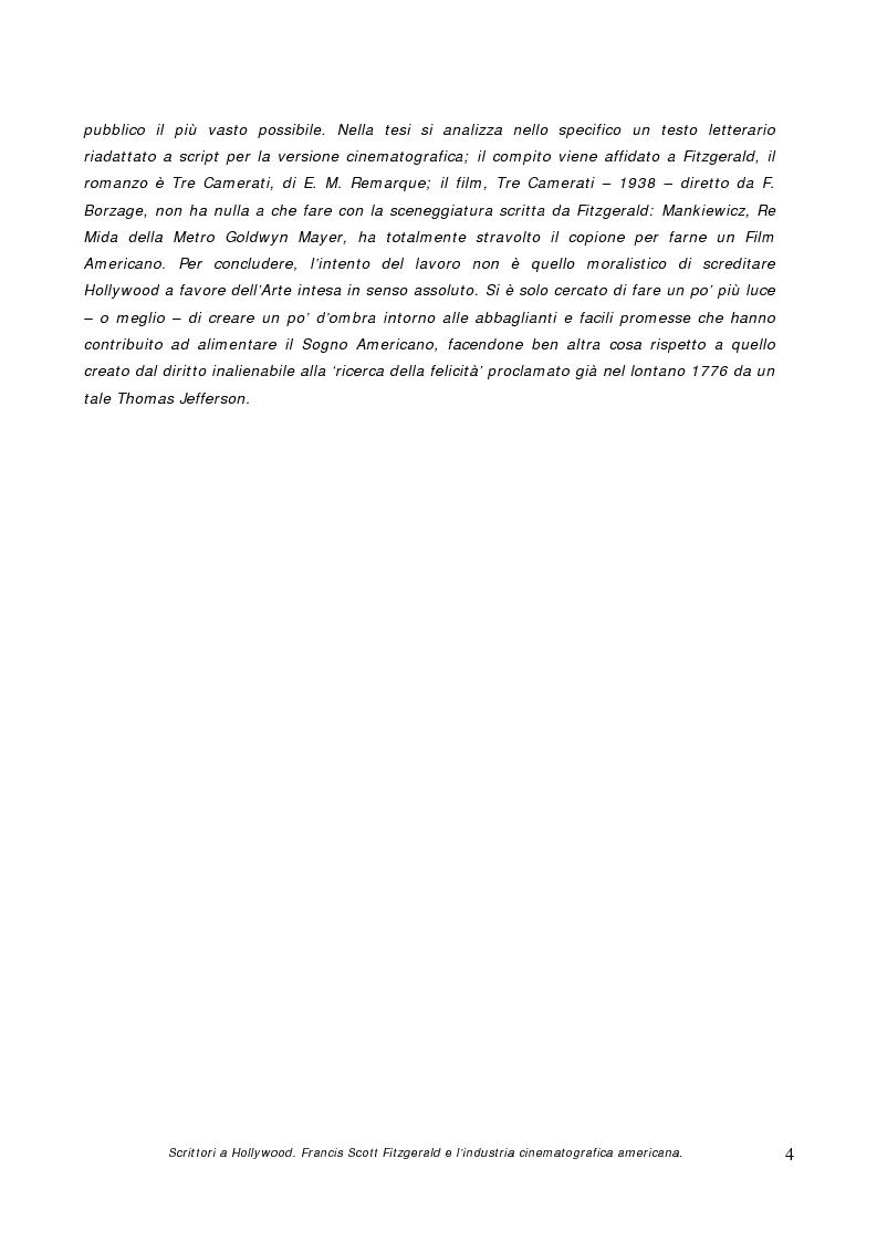 Anteprima della tesi: Scrittori a Hollywood. Francis Scott Fitzgerald e l'industria cinematografica americana, Pagina 2