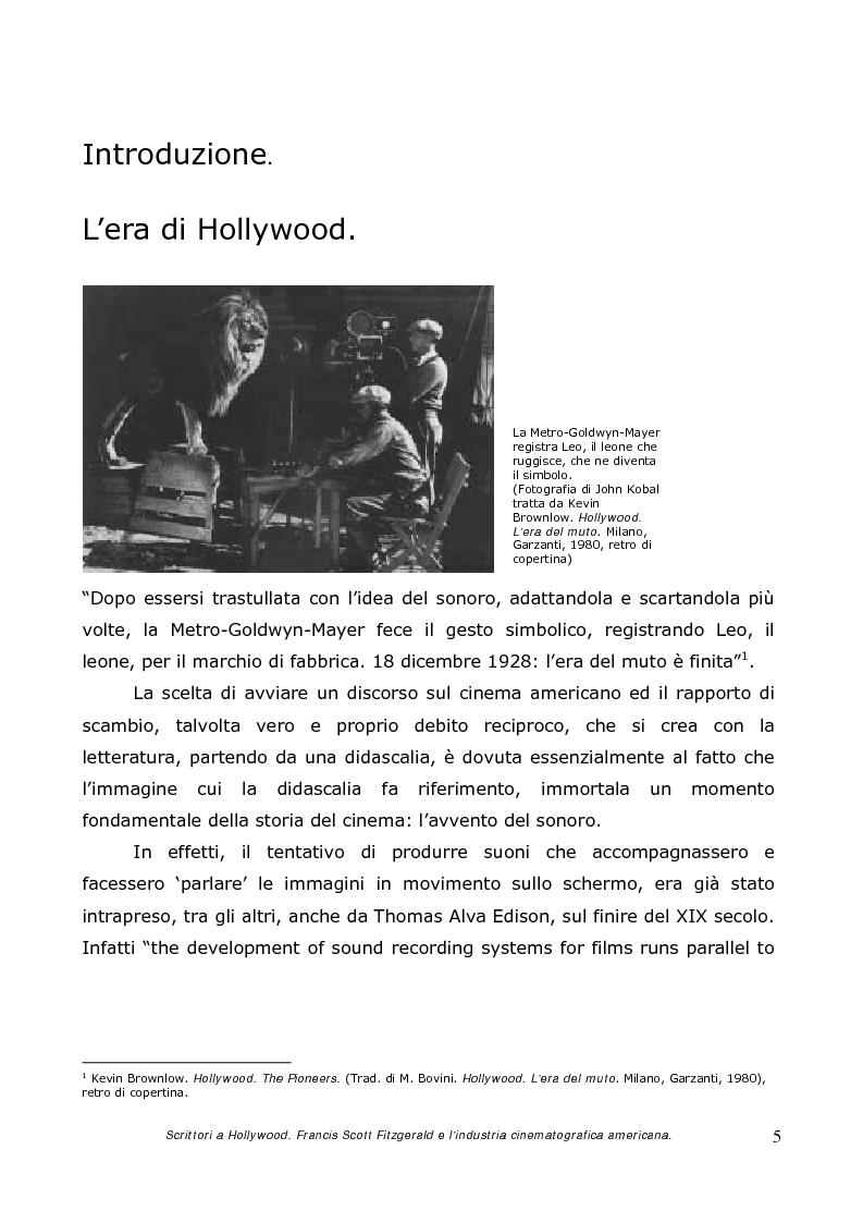 Anteprima della tesi: Scrittori a Hollywood. Francis Scott Fitzgerald e l'industria cinematografica americana, Pagina 3