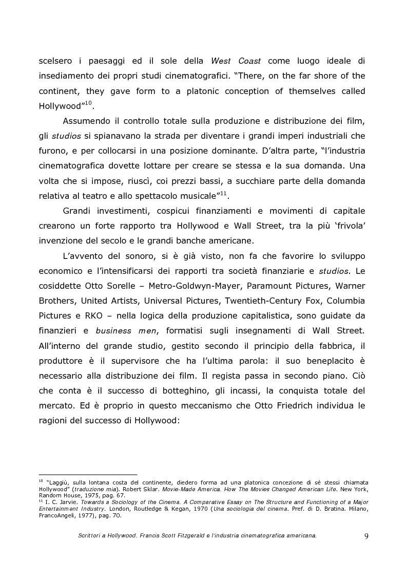 Anteprima della tesi: Scrittori a Hollywood. Francis Scott Fitzgerald e l'industria cinematografica americana, Pagina 7