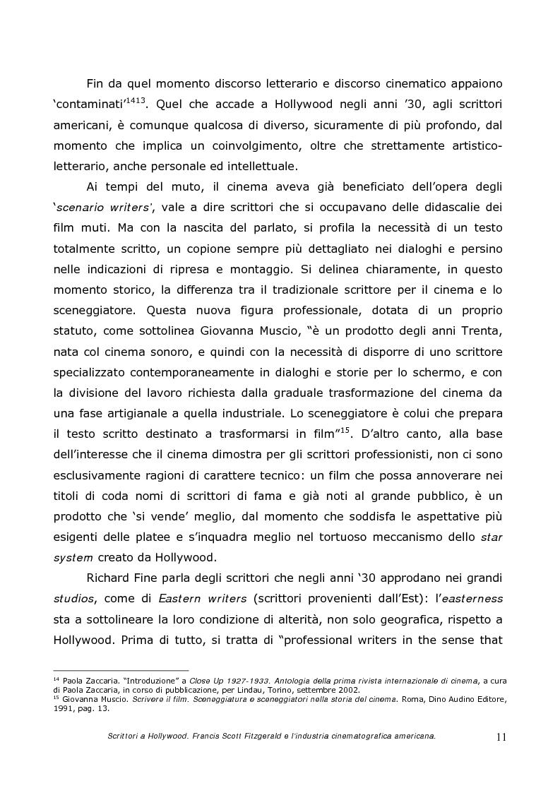 Anteprima della tesi: Scrittori a Hollywood. Francis Scott Fitzgerald e l'industria cinematografica americana, Pagina 9
