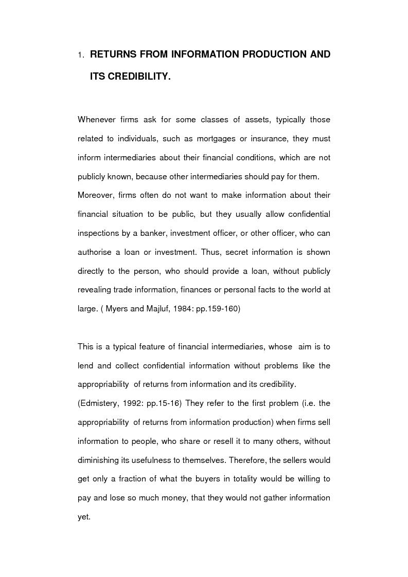Anteprima della tesi: Asymmetric information and financial intermediation, Pagina 2
