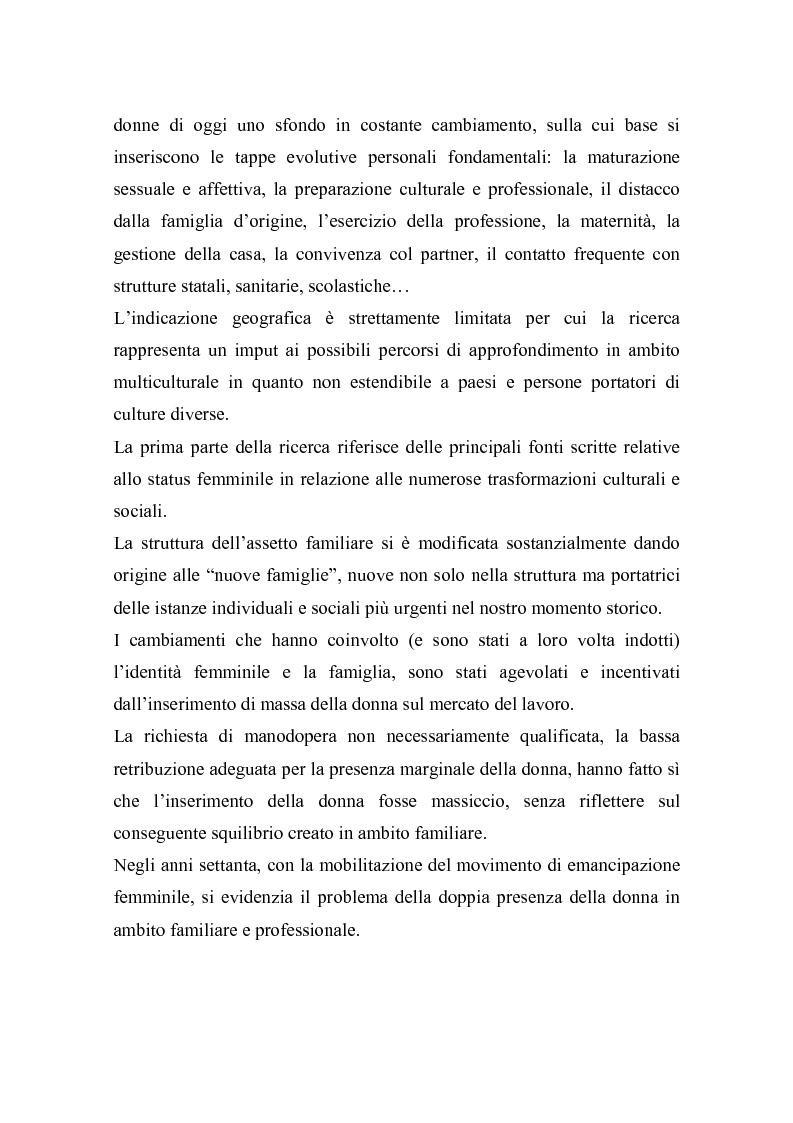 Anteprima della tesi: La doppia presenza della donna - Organizzazione in ambito familiare e professionale, Pagina 2