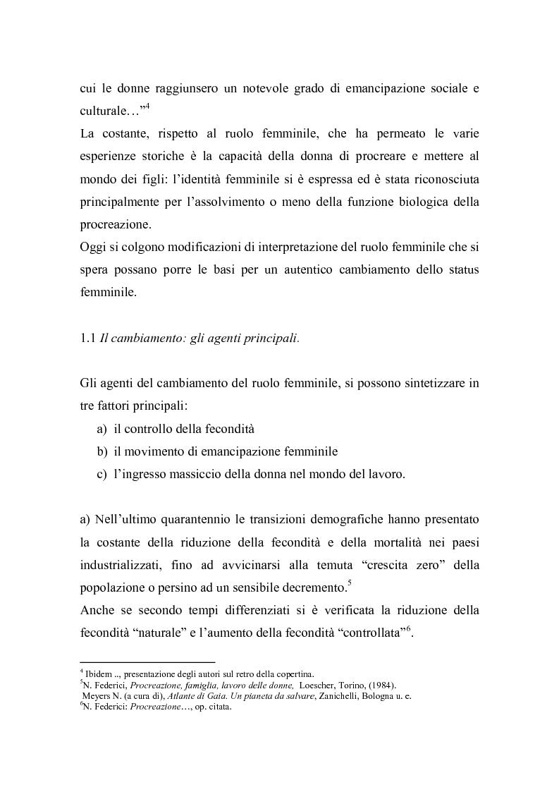 Anteprima della tesi: La doppia presenza della donna - Organizzazione in ambito familiare e professionale, Pagina 6