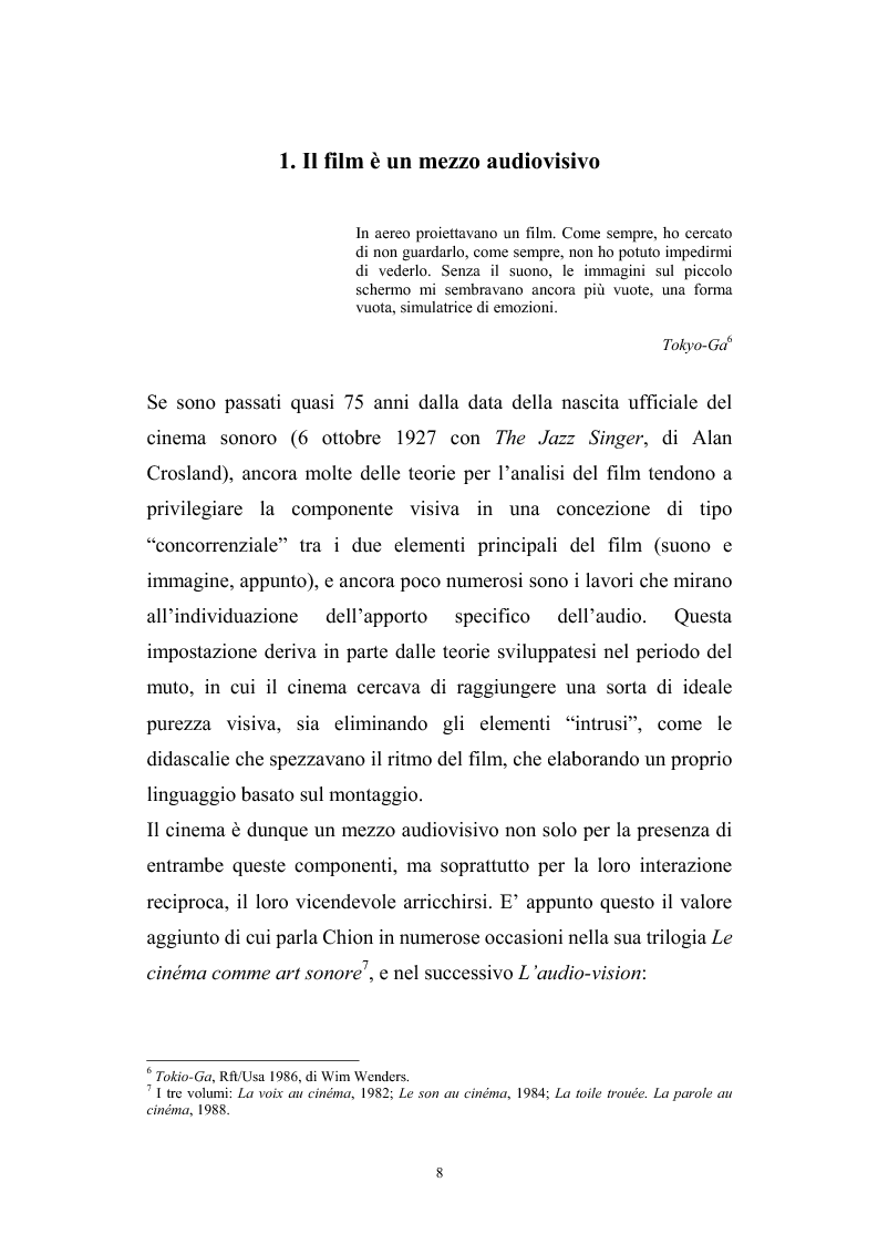 Anteprima della tesi: L'interazione suono-immagine nel cinema di Nanni Moretti, Pagina 4