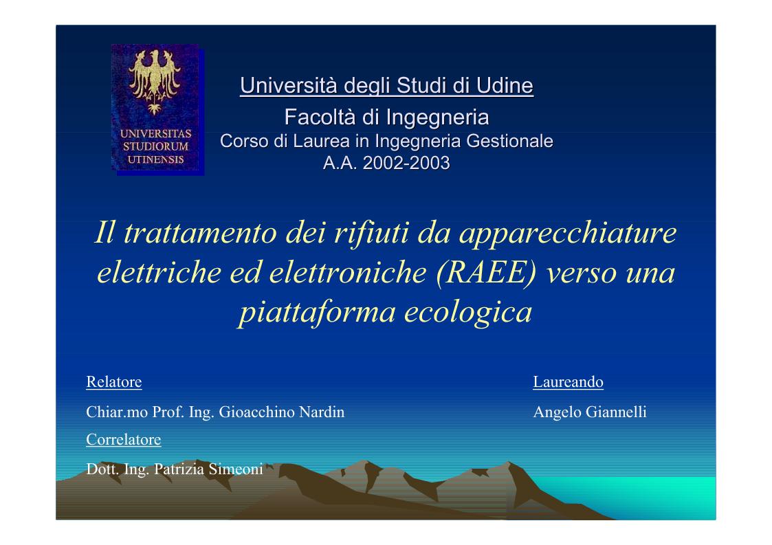 Anteprima della tesi: Il trattamento dei rifiuti da apparecchiature elettriche ed elettroniche (RAEE) verso una piattaforma ecologica, Pagina 1