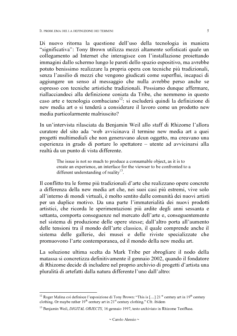 Anteprima della tesi: Arte in Rete: il sito rhizome.org, Pagina 12