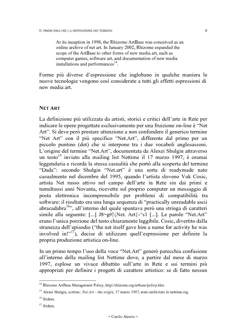 Anteprima della tesi: Arte in Rete: il sito rhizome.org, Pagina 13