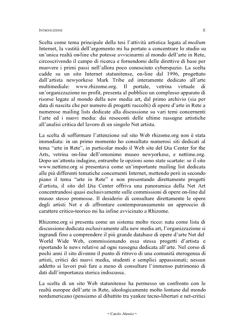 Anteprima della tesi: Arte in Rete: il sito rhizome.org, Pagina 2