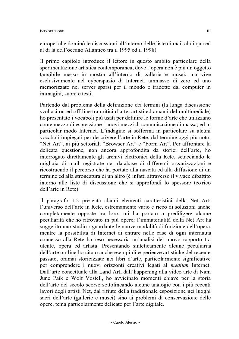 Anteprima della tesi: Arte in Rete: il sito rhizome.org, Pagina 3