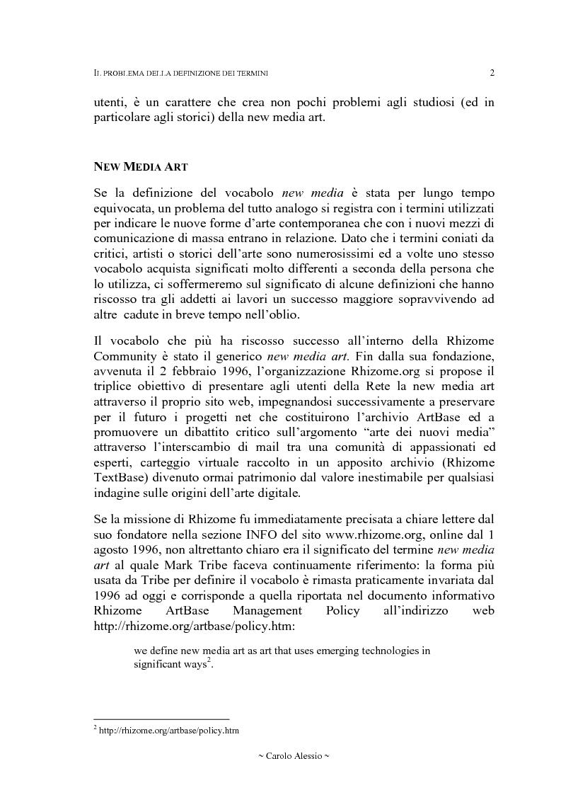 Anteprima della tesi: Arte in Rete: il sito rhizome.org, Pagina 9