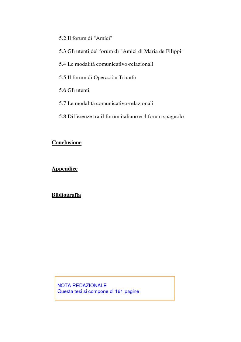 Indice della tesi: Real Tv e forum on line, Pagina 3