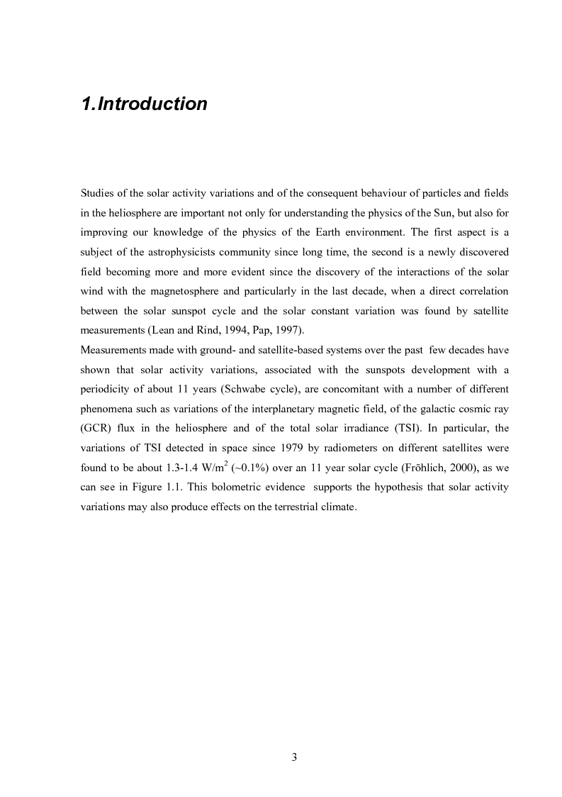 Anteprima della tesi: Influence of solar activity variations on the interplanetary space, Pagina 1