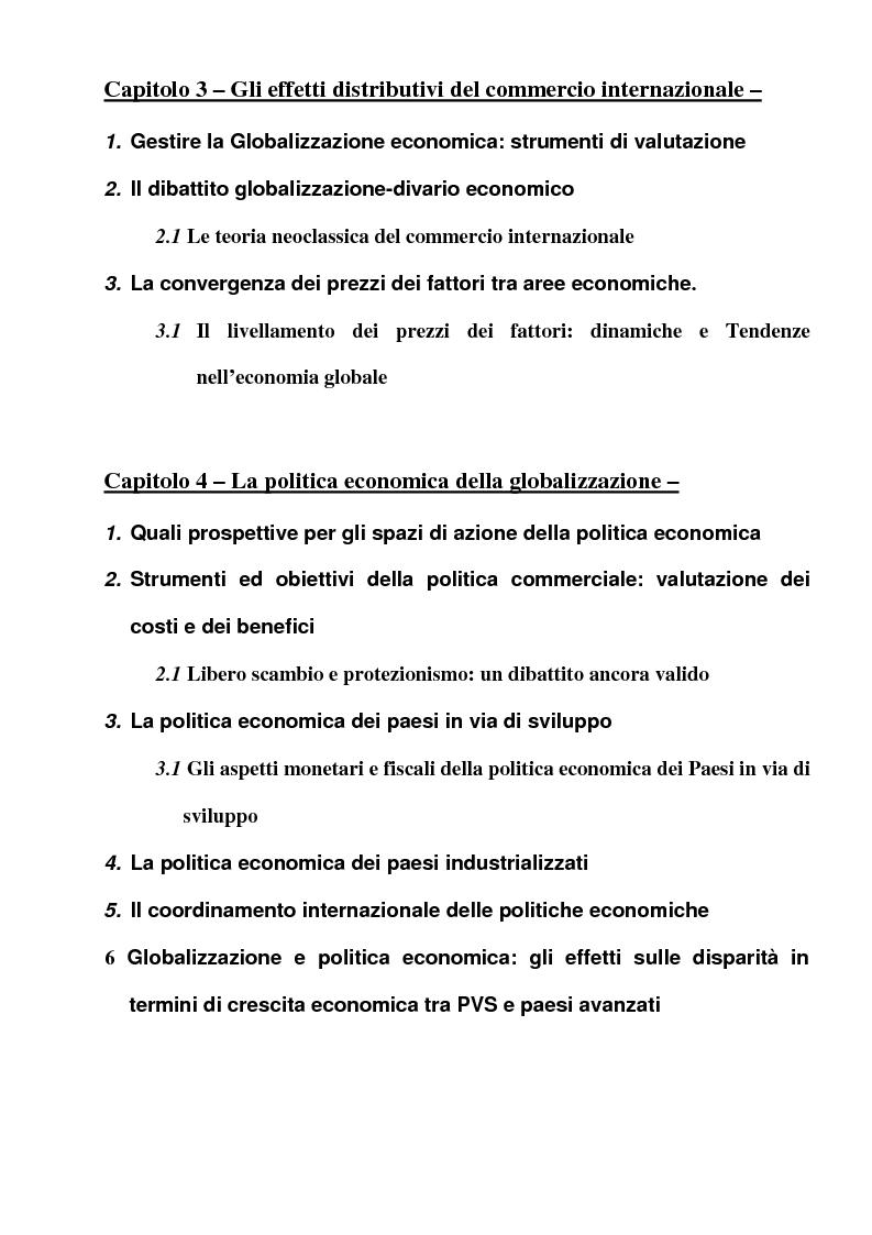 Indice della tesi: Globalizzazione: l'integrazione economica, la distribuzione, le politiche economiche, la tecnologia, Pagina 3