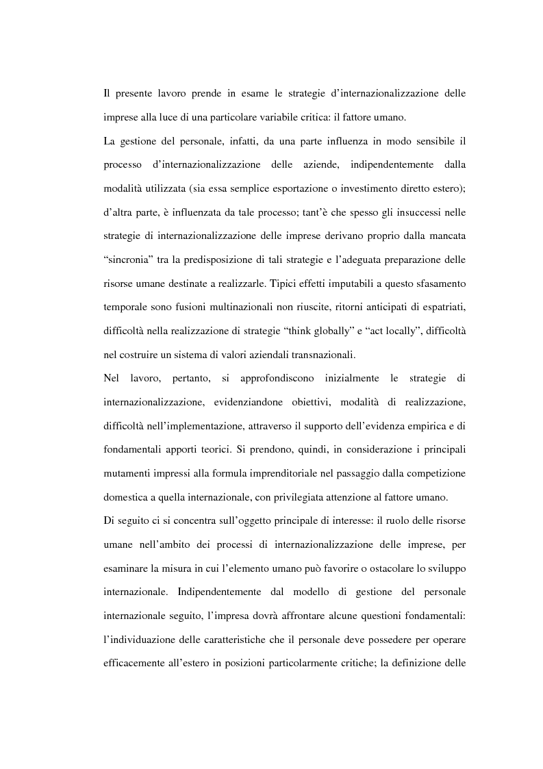 Anteprima della tesi: Le risorse umane come elemento critico nei processi di internazionalizzazione delle imprese. Il caso KME - Europa Metalli S.p.A., Pagina 1