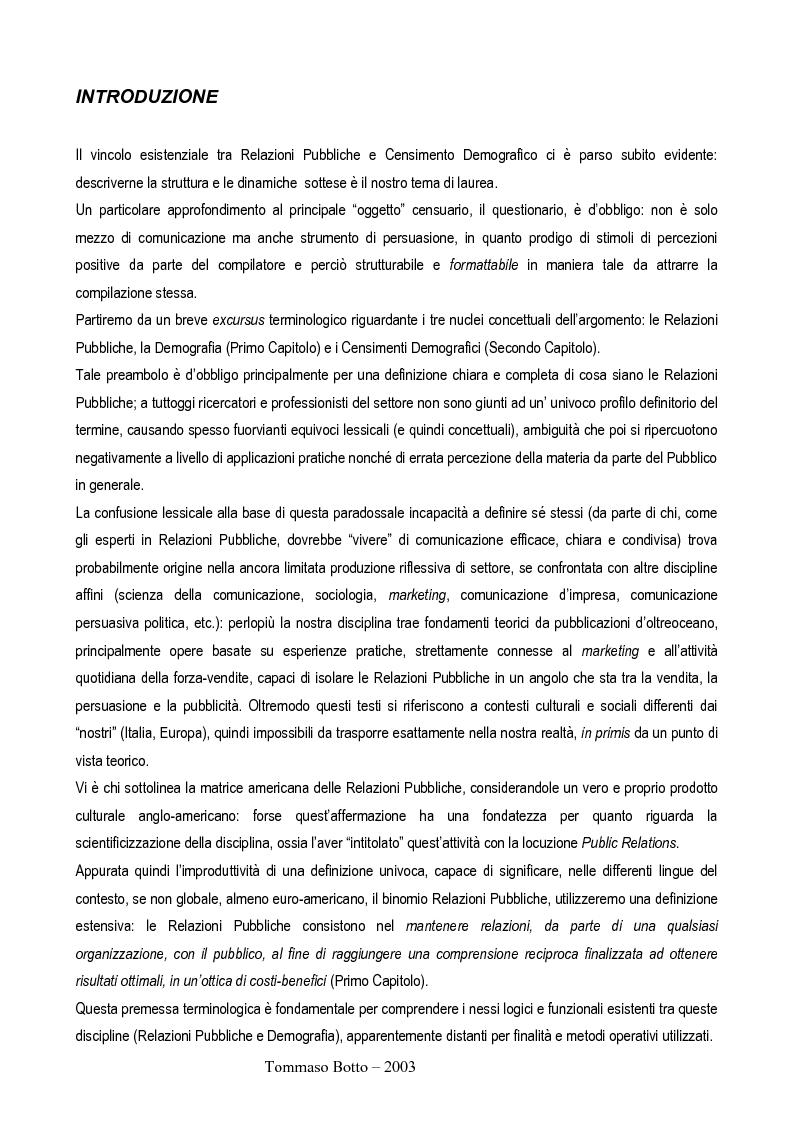Anteprima della tesi: Le relazioni pubbliche come funzione di census management: analisi comparativa di quindici esperienze censuarie, Pagina 2