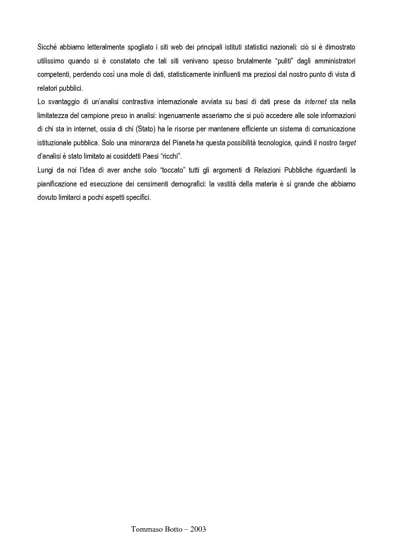 Anteprima della tesi: Le relazioni pubbliche come funzione di census management: analisi comparativa di quindici esperienze censuarie, Pagina 4