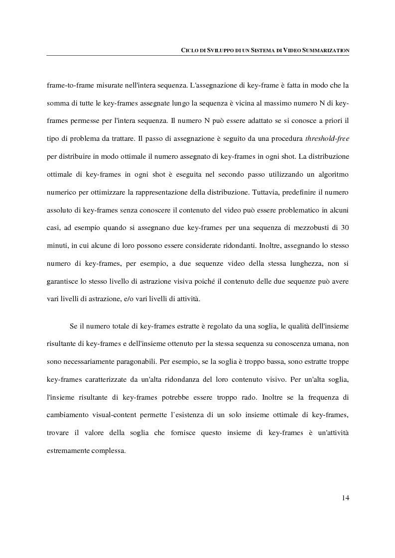 Anteprima della tesi: Progettazione, implementazione e sperimentazione di un ambiente per la video summarization, Pagina 10