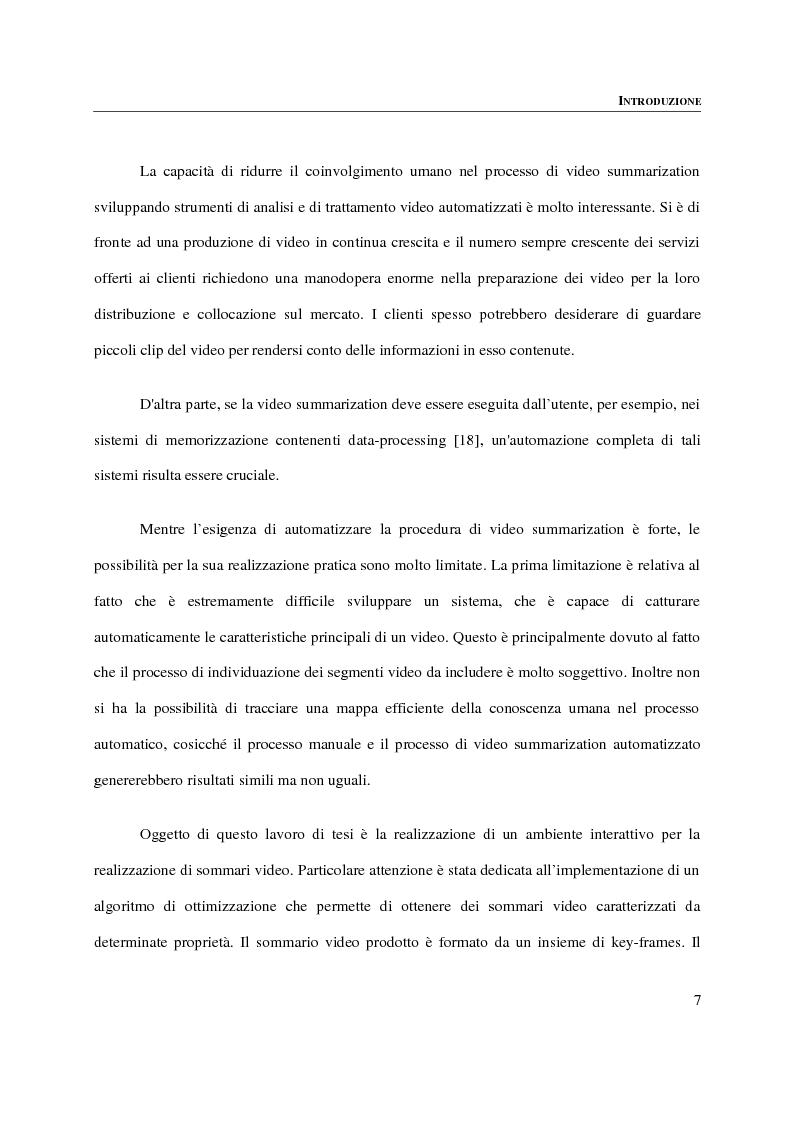 Anteprima della tesi: Progettazione, implementazione e sperimentazione di un ambiente per la video summarization, Pagina 3