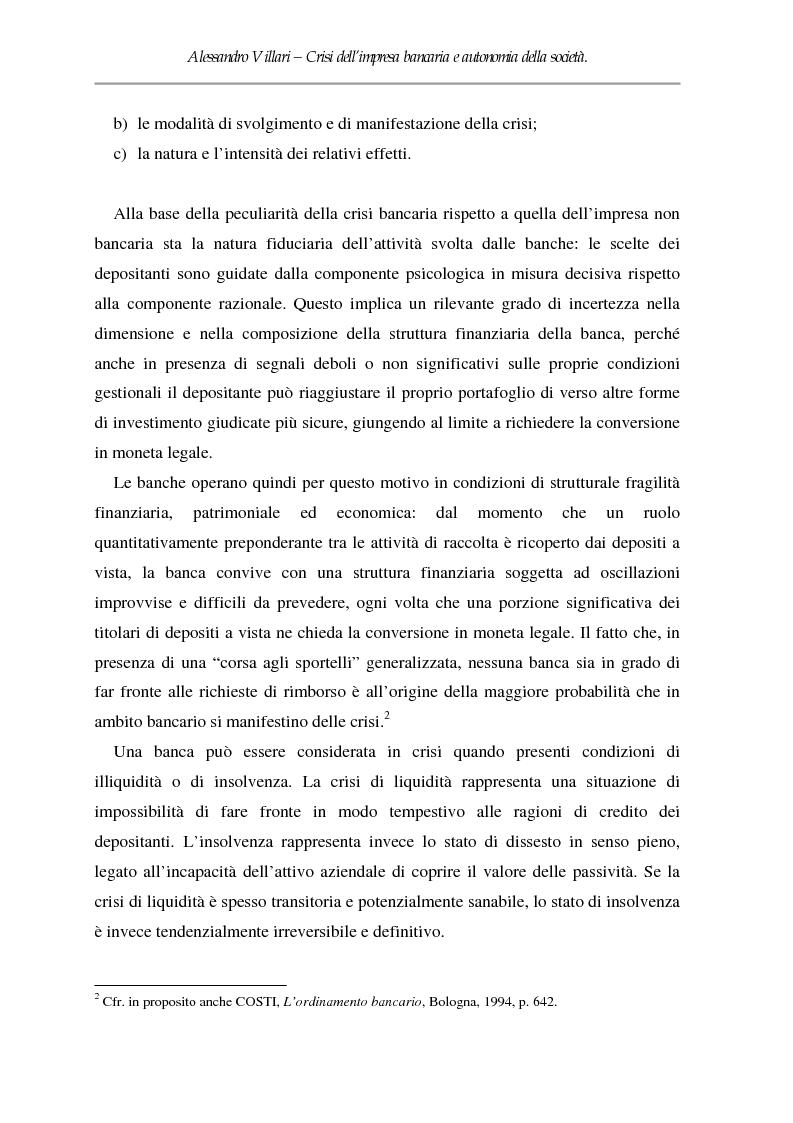Anteprima della tesi: Crisi dell'impresa bancaria e autonomia della società, Pagina 2