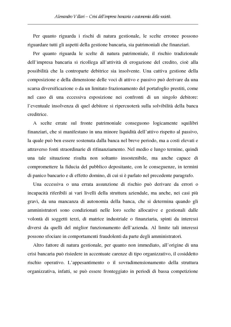 Anteprima della tesi: Crisi dell'impresa bancaria e autonomia della società, Pagina 6