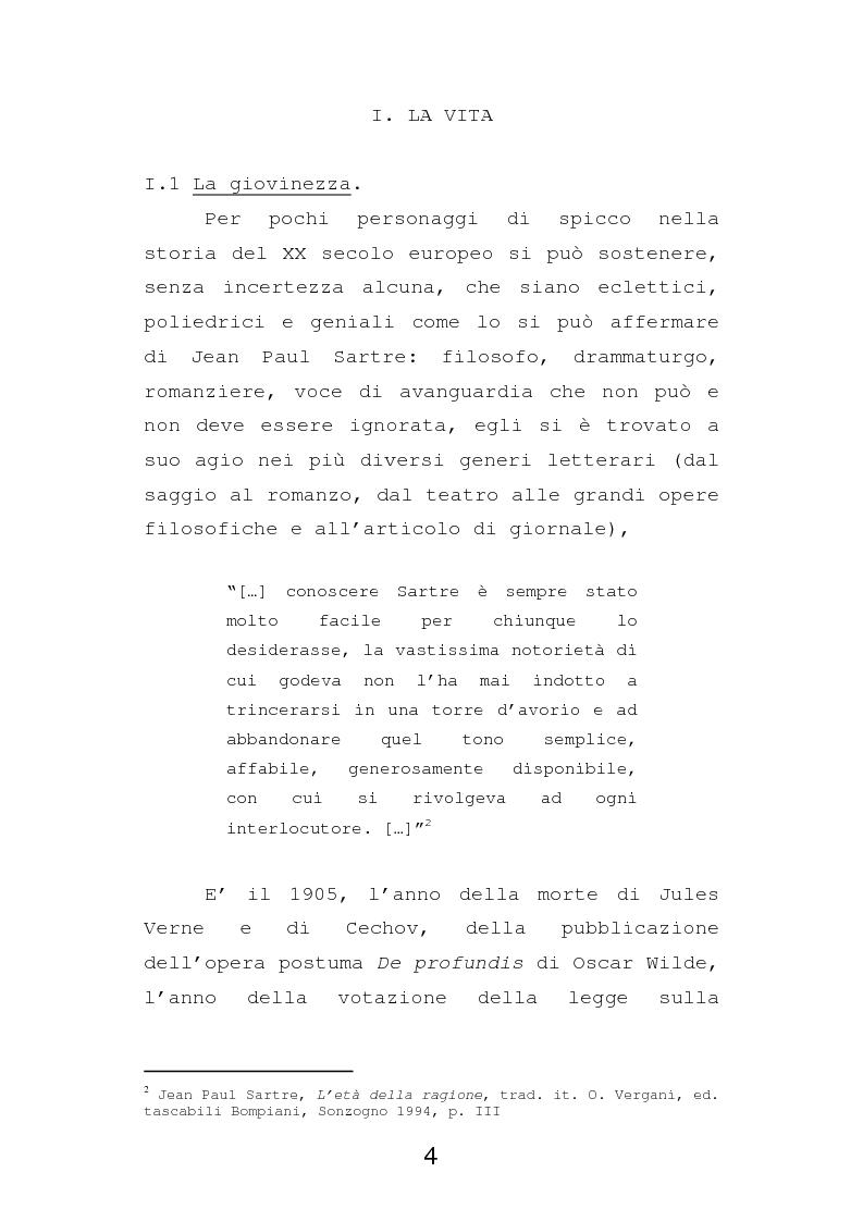 Anteprima della tesi: Esistenzialismo e ateismo in Jean Paul Sartre, Pagina 1