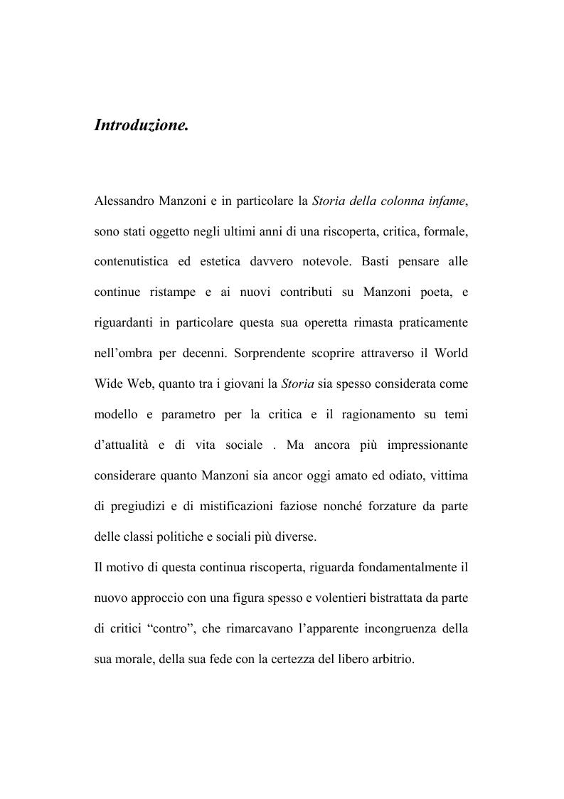 Anteprima della tesi: Genesi e fortuna della ''Storia della colonna infame'' di A. Manzoni, Pagina 2