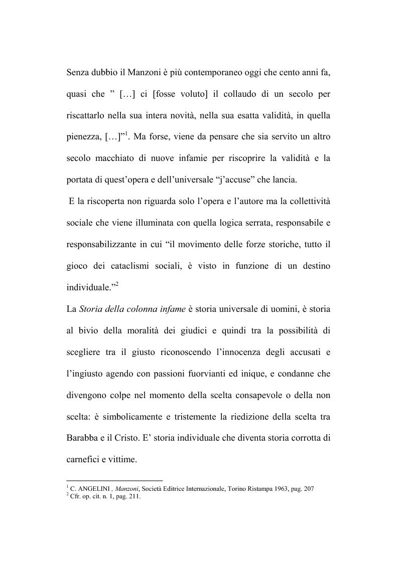 Anteprima della tesi: Genesi e fortuna della ''Storia della colonna infame'' di A. Manzoni, Pagina 3