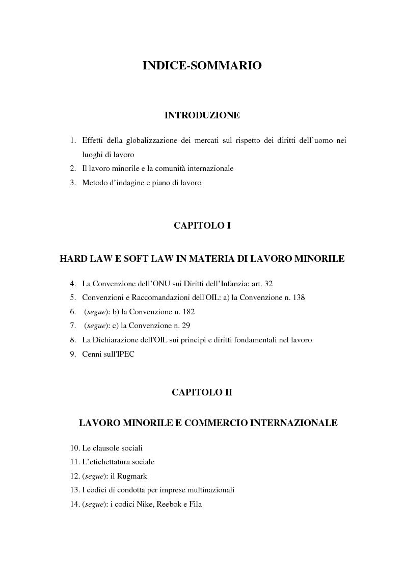 Indice della tesi: La globalizzazione dei mercati e il lavoro minorile alla luce della normativa internazionale in materia di diritti dell'uomo, Pagina 1
