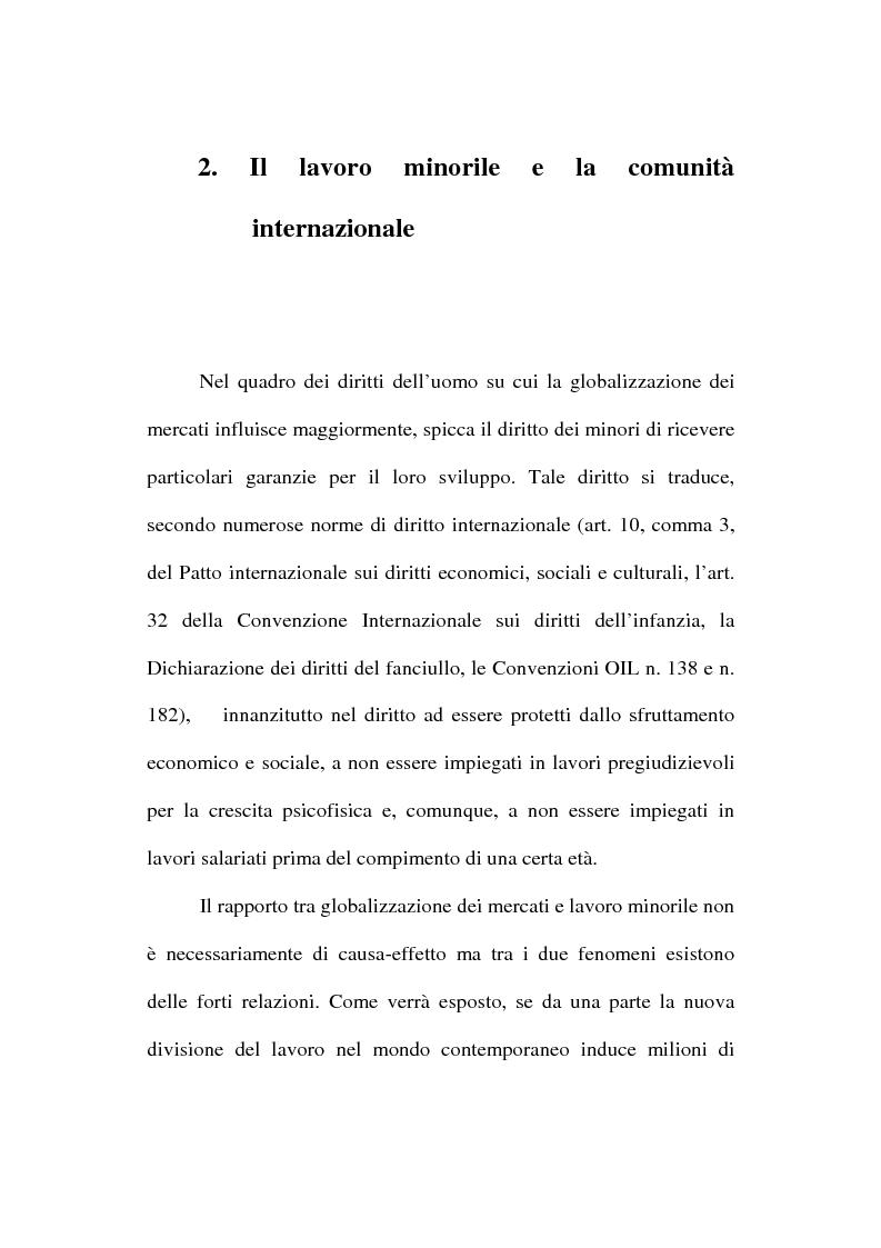 Anteprima della tesi: La globalizzazione dei mercati e il lavoro minorile alla luce della normativa internazionale in materia di diritti dell'uomo, Pagina 11