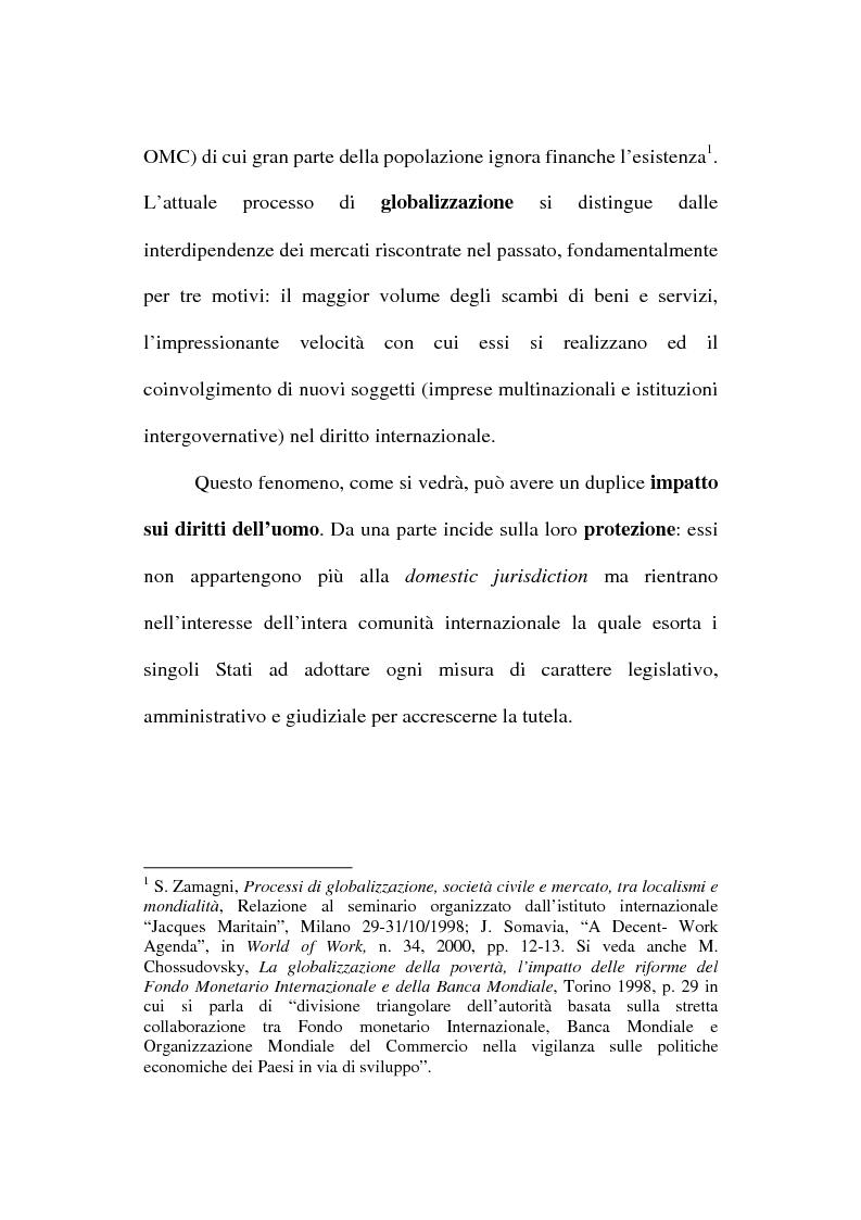Anteprima della tesi: La globalizzazione dei mercati e il lavoro minorile alla luce della normativa internazionale in materia di diritti dell'uomo, Pagina 2