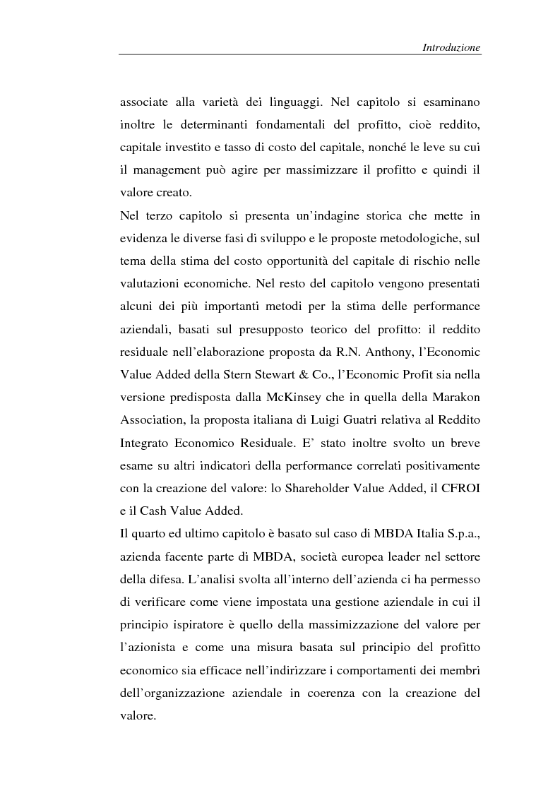 Anteprima della tesi: Creazione di valore e misure di performance basate sul profitto: il caso MBDA Italia spa, Pagina 3