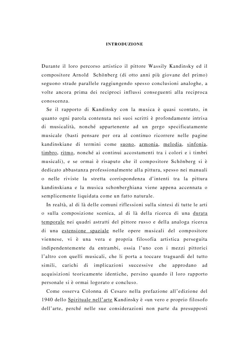 Anteprima della tesi: La pittura di Kandinsky e la musica di Schoenberg: due arti a confronto, Pagina 1