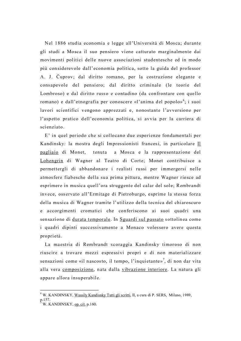 Anteprima della tesi: La pittura di Kandinsky e la musica di Schoenberg: due arti a confronto, Pagina 11
