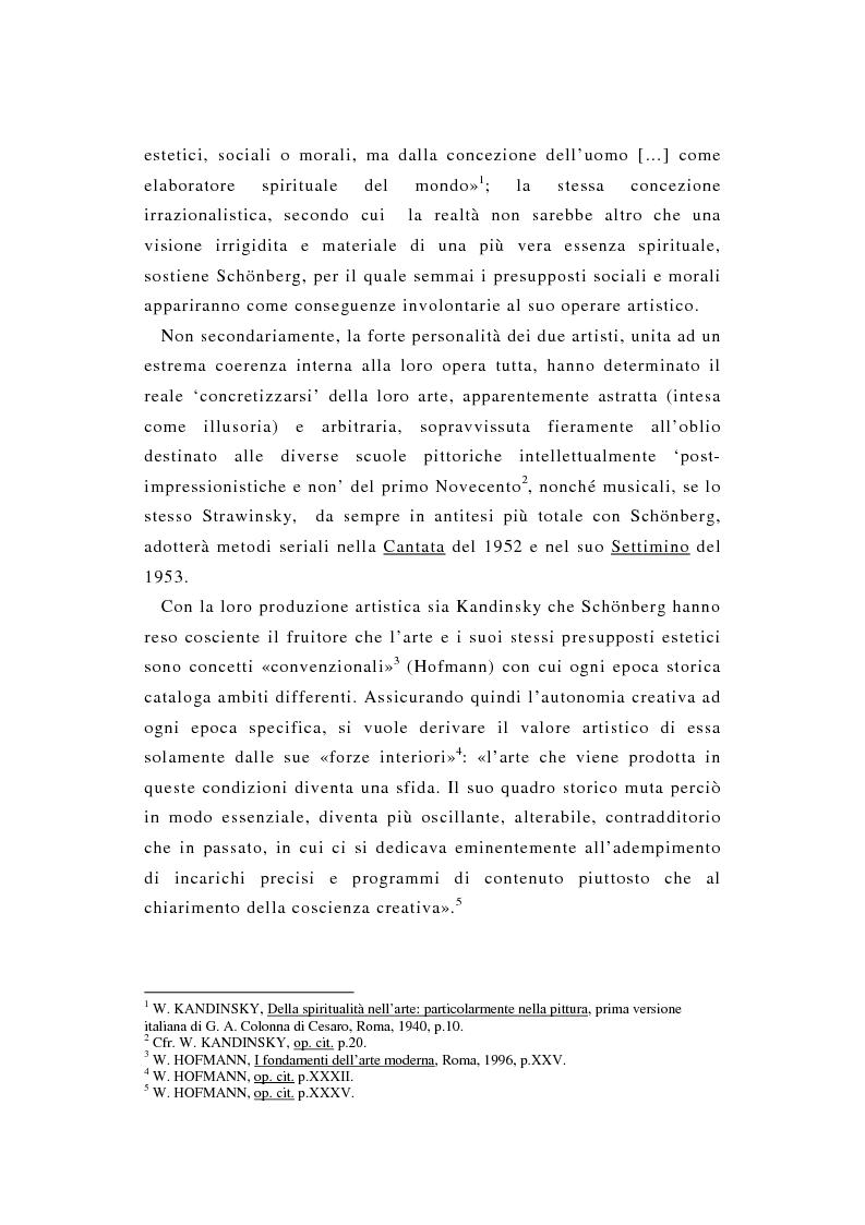 Anteprima della tesi: La pittura di Kandinsky e la musica di Schoenberg: due arti a confronto, Pagina 2