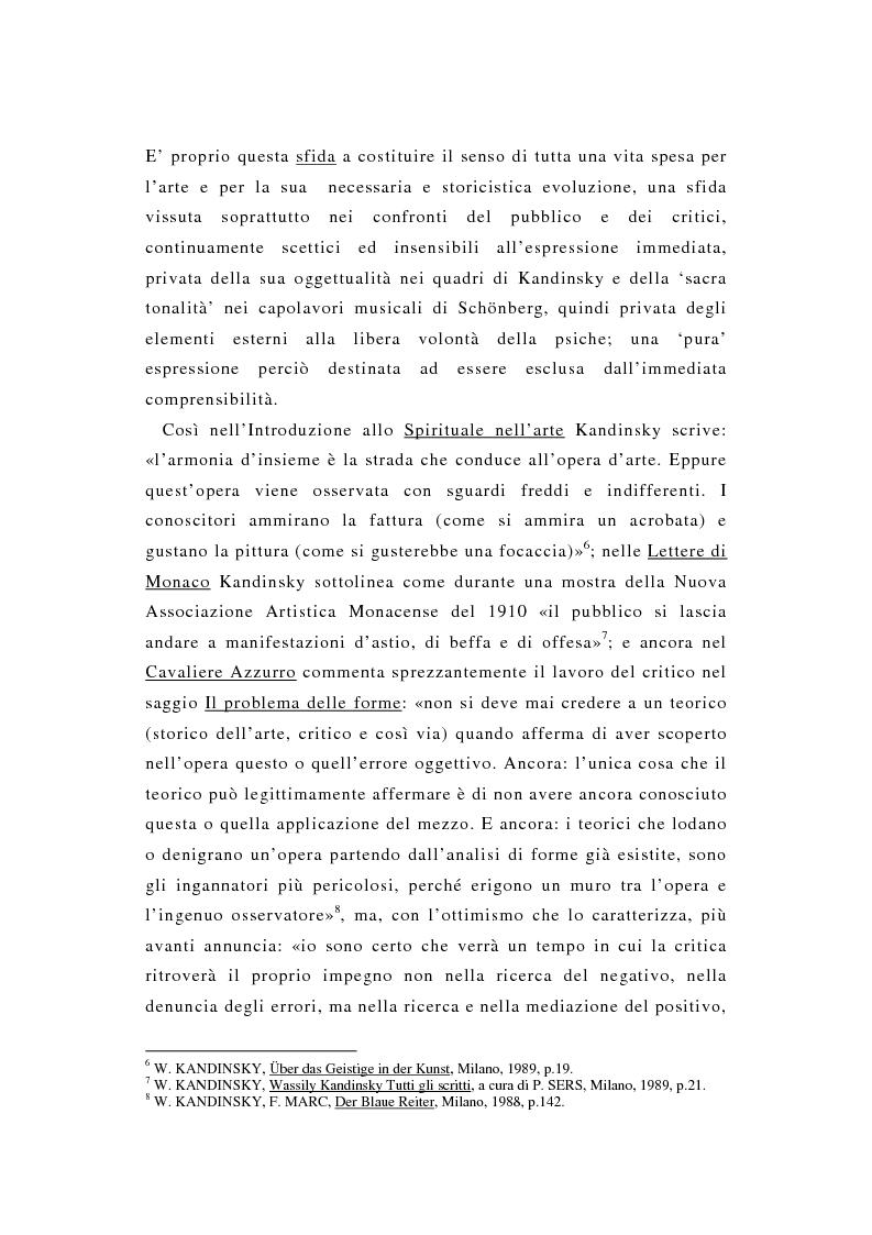 Anteprima della tesi: La pittura di Kandinsky e la musica di Schoenberg: due arti a confronto, Pagina 3
