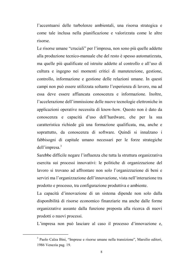 Anteprima della tesi: Innovazione tecnologica: mutamento dei fabbisogni formativi e nuovi profili professionali, Pagina 4