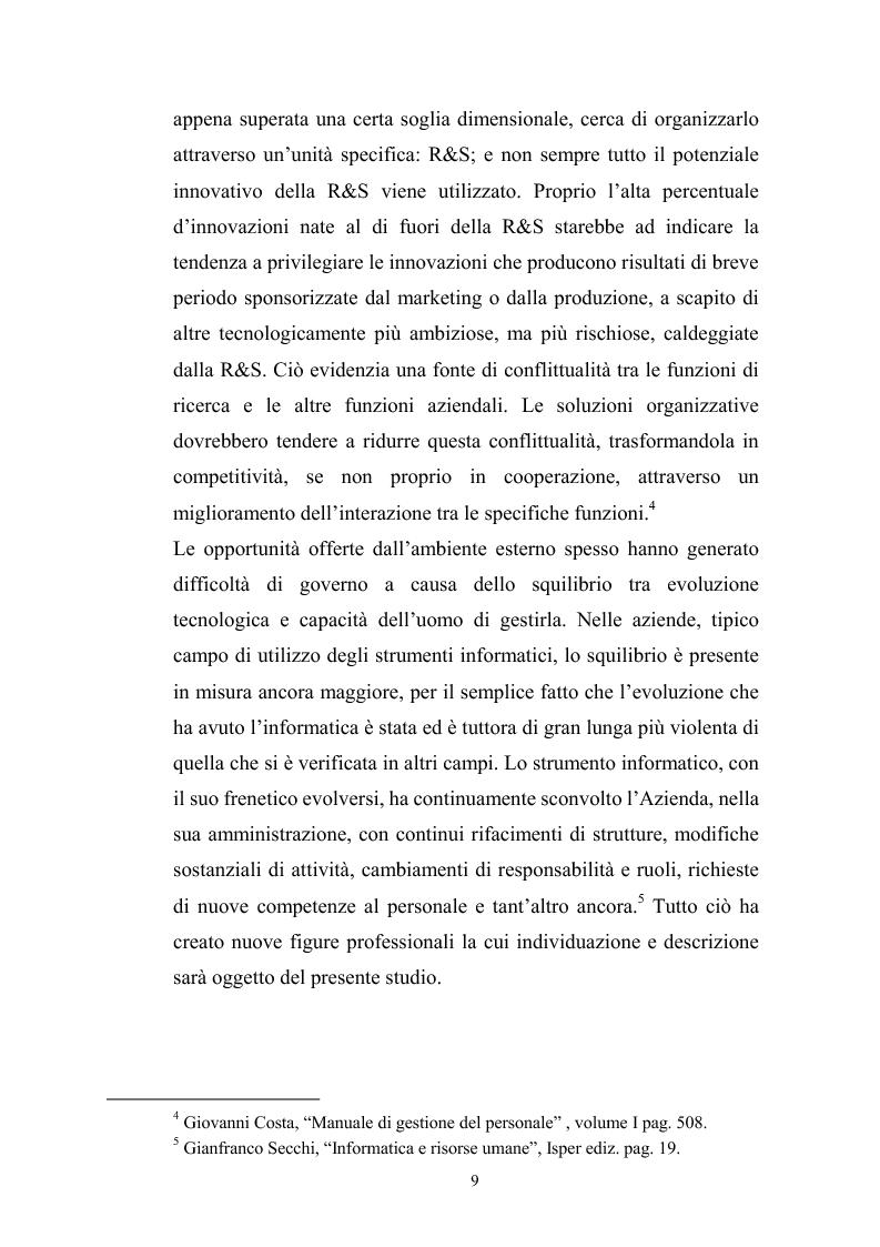 Anteprima della tesi: Innovazione tecnologica: mutamento dei fabbisogni formativi e nuovi profili professionali, Pagina 5
