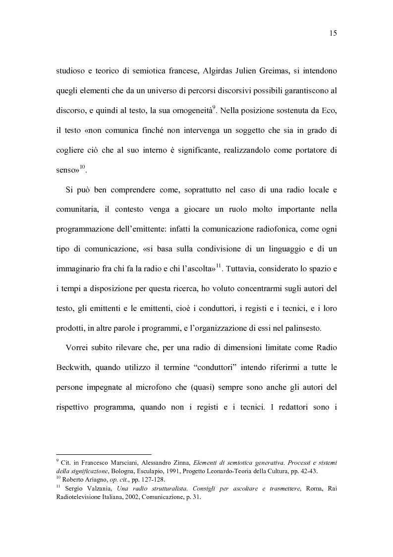 Anteprima della tesi: Radio Beckwith: identità in onda. Una ricerca nella radiofonia comunitaria, Pagina 11