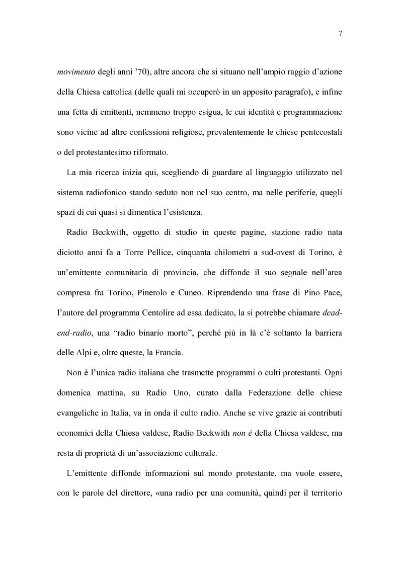 Anteprima della tesi: Radio Beckwith: identità in onda. Una ricerca nella radiofonia comunitaria, Pagina 3