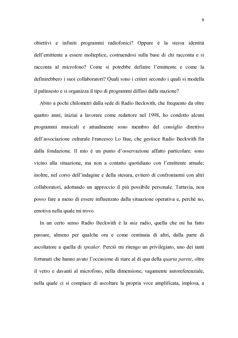 Anteprima della tesi: Radio Beckwith: identità in onda. Una ricerca nella radiofonia comunitaria, Pagina 5