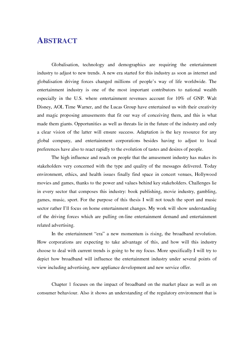 Anteprima della tesi: The Entertainment & Broadband Revolution, Pagina 1