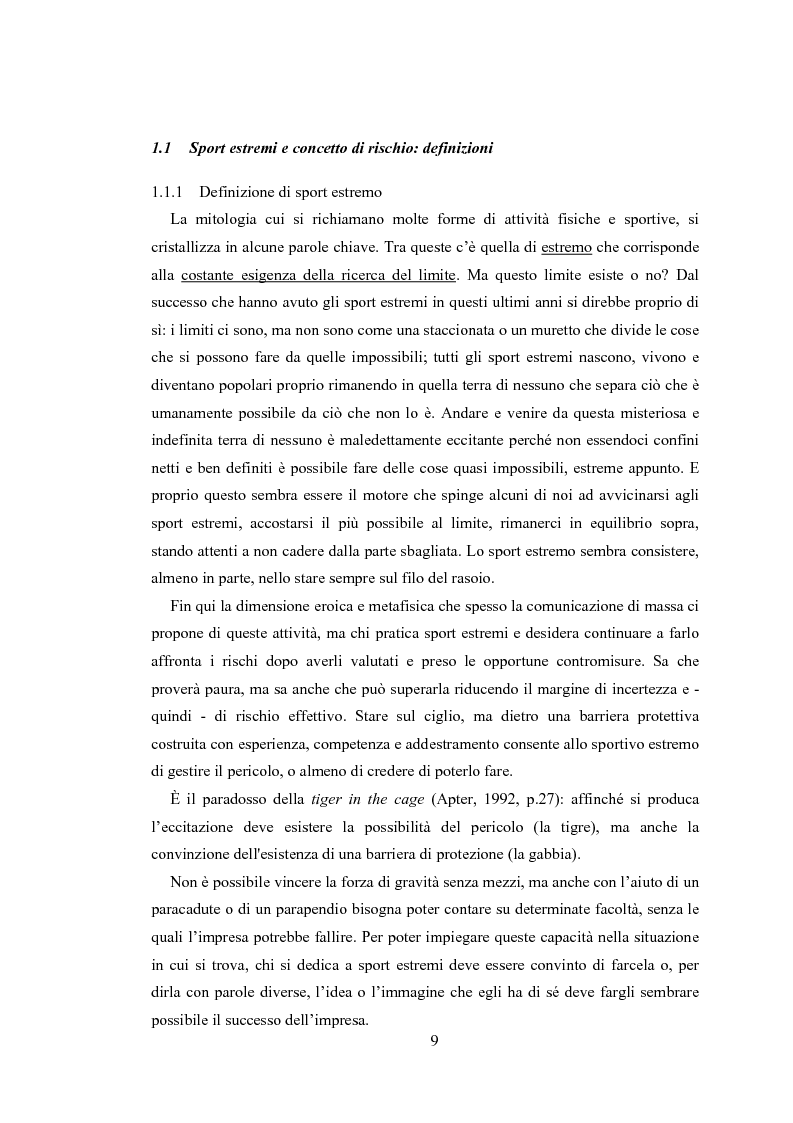 Anteprima della tesi: Gli sport estremi. Analisi teorica ed empirica del comportamento del consumatore, Pagina 7
