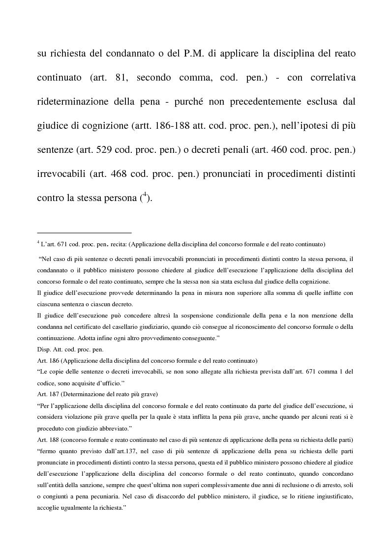 Anteprima della tesi: Il riconoscimento del reato continuato nella fase esecutiva, Pagina 4