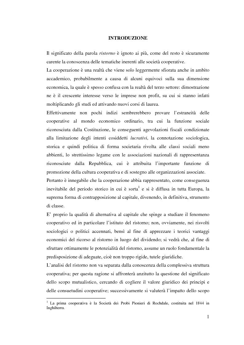 Anteprima della tesi: I ristorni nelle società cooperative: aspetti giuridici e economici, Pagina 1