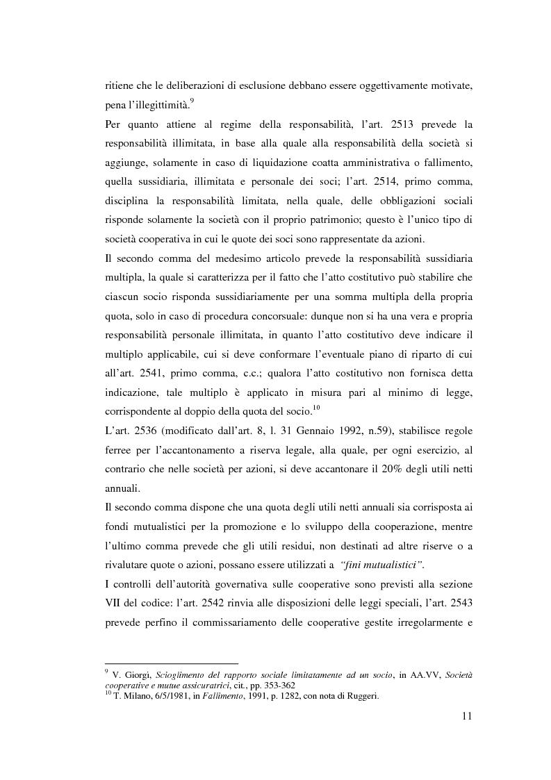 Anteprima della tesi: I ristorni nelle società cooperative: aspetti giuridici e economici, Pagina 11
