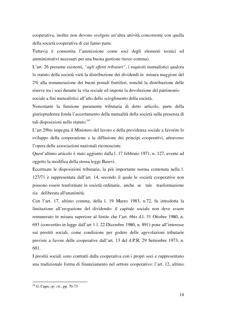 Anteprima della tesi: I ristorni nelle società cooperative: aspetti giuridici e economici, Pagina 14