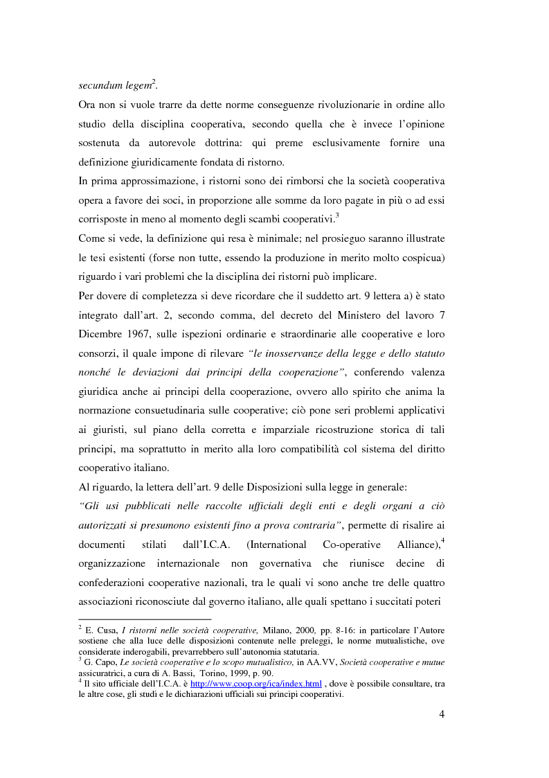 Anteprima della tesi: I ristorni nelle società cooperative: aspetti giuridici e economici, Pagina 4