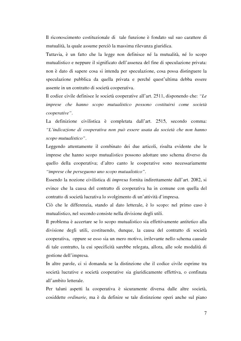 Anteprima della tesi: I ristorni nelle società cooperative: aspetti giuridici e economici, Pagina 7